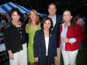 State Senators John McKinney and Toni Boucher visit with Weston RTC Chairman Britta Lerner and Nina Daniel